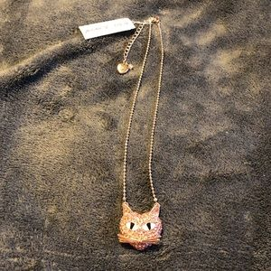 NWT•Betsey Johnson RG Pink AB crystal Cat necklace